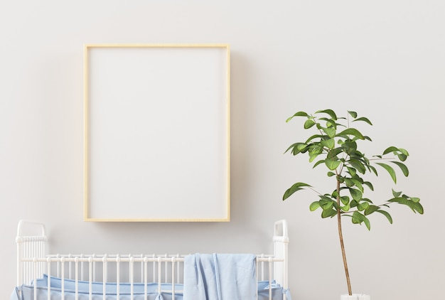 Children's room with a vertical wooden frame poster 3d rendering
