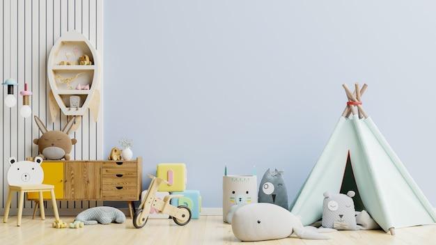 壁の水色の子供部屋.3dレンダリング