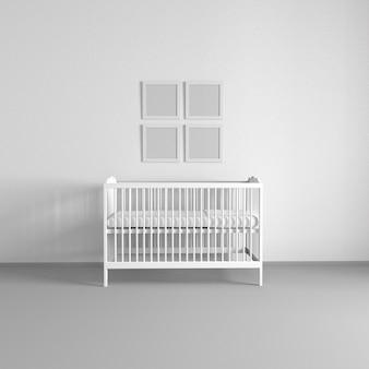 白い壁と白いベビーベッドのある子供部屋