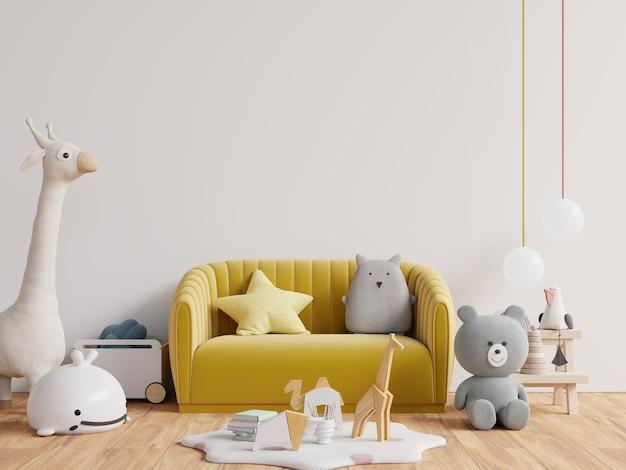 Детская комната с желтым диваном на фоне пустой белой стене. 3d визуализация