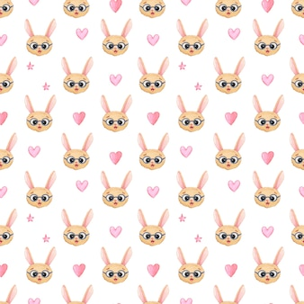 흰색 바탕에 분홍색 하트와 별이 있는 안경에 토끼 머리가 있는 아이들의 매끄러운 수채색 배경. 소녀, 발렌타인 데이 또는 연인을 위한 인쇄