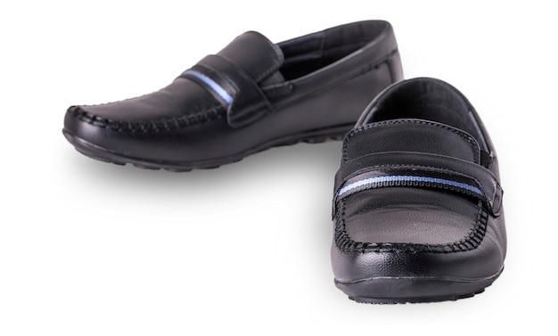 흰색 배경에 고립 된 어린이 신발 모카신