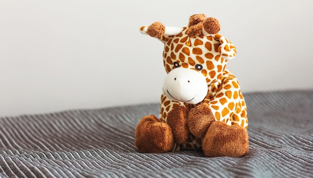 Children's soft plush toy giraffe sit on grey background
