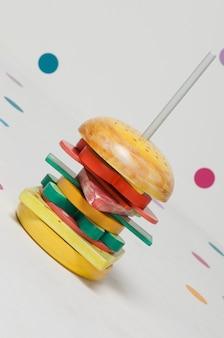 Детская игрушка пирамида пазл конструктор бургер