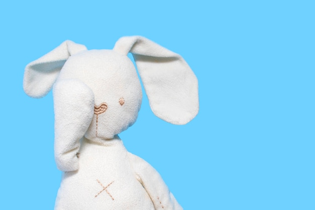 A children's toy, a white bunny on a blue bonnet, covers the eyes with a paw. .
