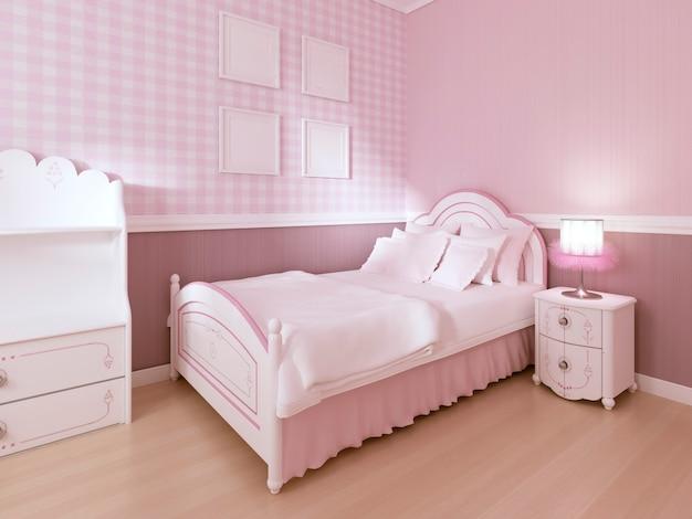 Детская белая кровать в классическом интерьере для девочки-подростка в пастельных тонах. 3d-рендеринг.