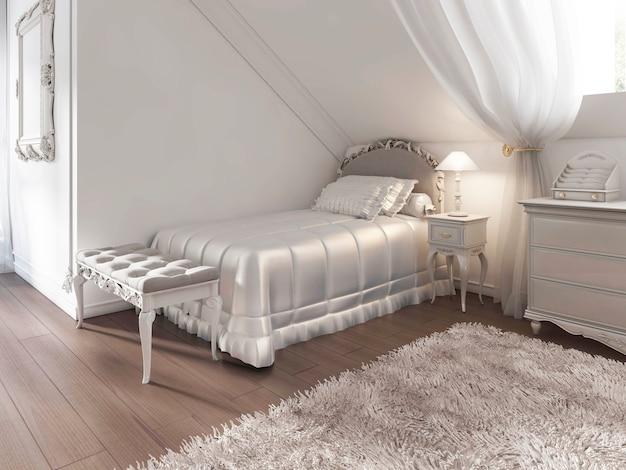 Детская белая кровать с пледом и подушками в стиле ар-деко. прикроватная скамья и прикроватный столик с лампой. 3d визуализация.