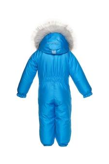 Детская зимняя одежда для прогулок с меховым капюшоном синего цвета электрик