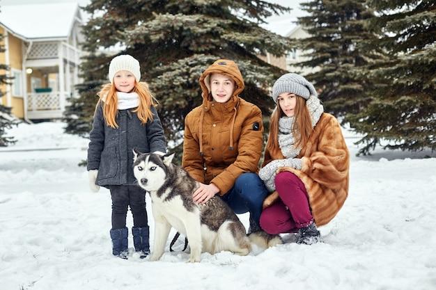 子供たちは雪の中に座って犬のハスキーを撫でた