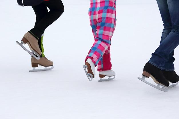 Children skate on the ice rink