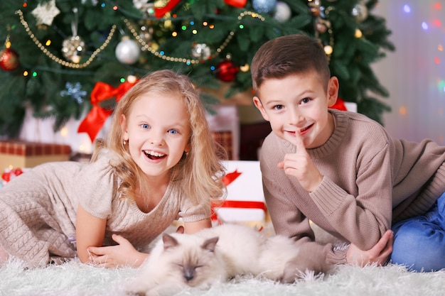 Children and sleeping cat in the decorated christmas room