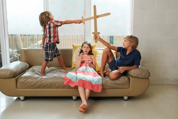 Children spending time at home