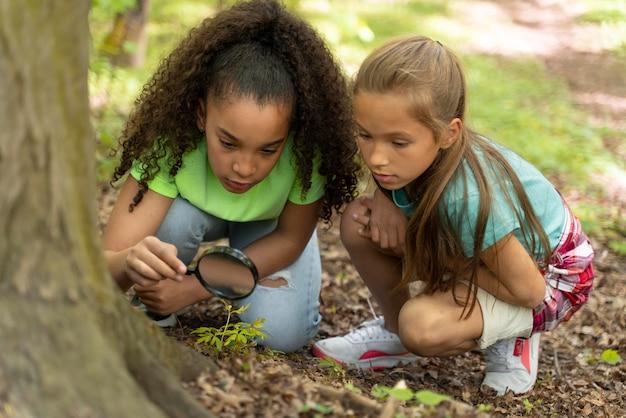 自然の中で一緒に時間を過ごす子供たち