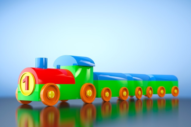 Детская игрушка многоцветный пластиковый поезд на синем фоне. 3d рендеринг