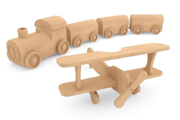흰색 바탕에 어린이 장난감 나무 기차와 비행기