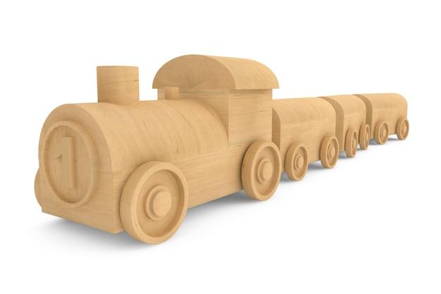 Children toy wooden train on a white background