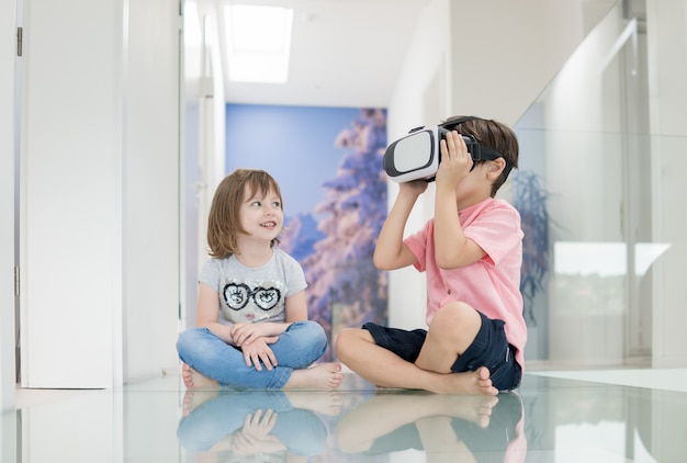 Children in virtual reality at home