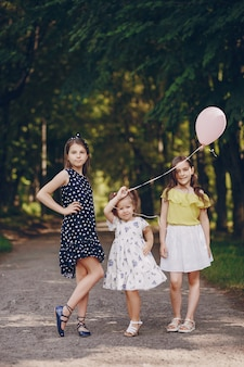 Children with ballons