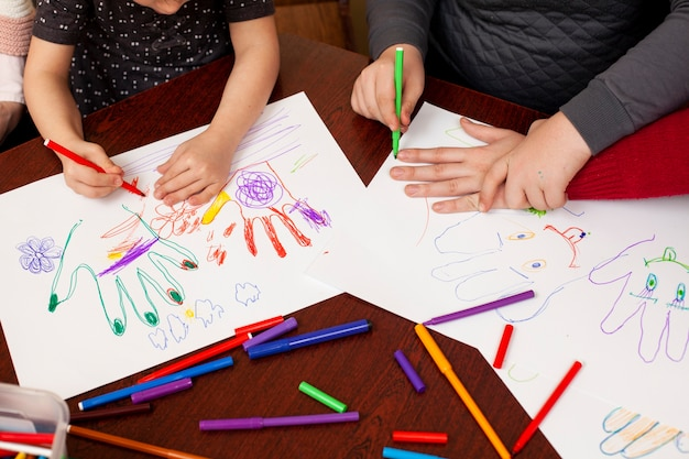 Children with down syndrome drawing