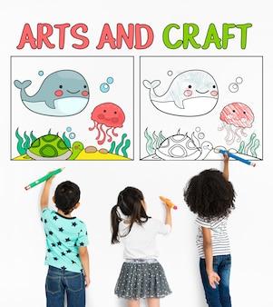 Etwork 그래픽 오버레이 배경 패드에서 작업하는 어린이