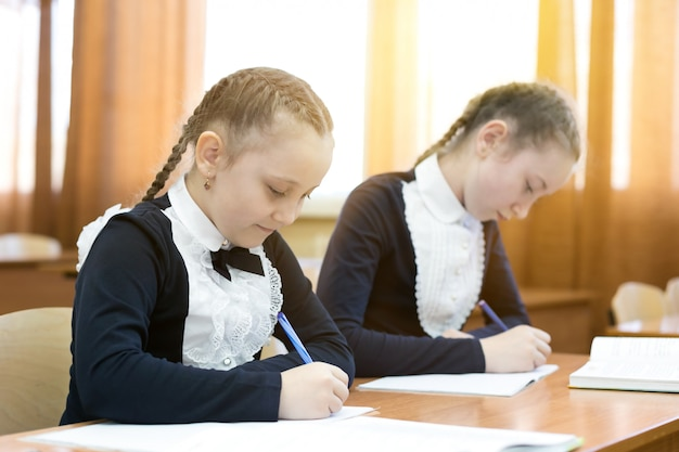 Children write while sitting at the school desk.