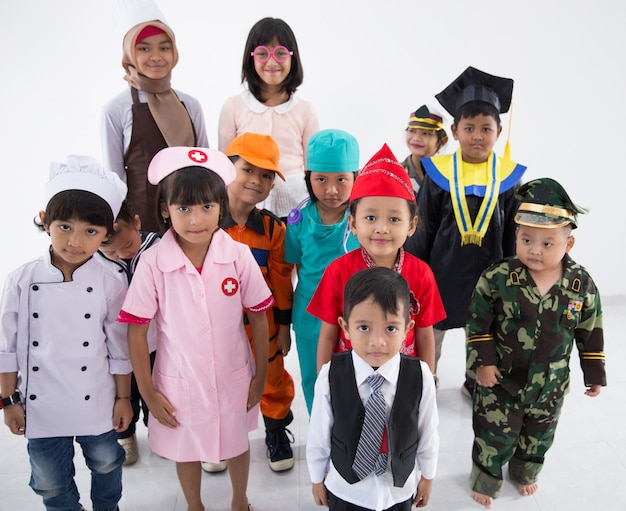 Childrens dressed in costumes of different professions