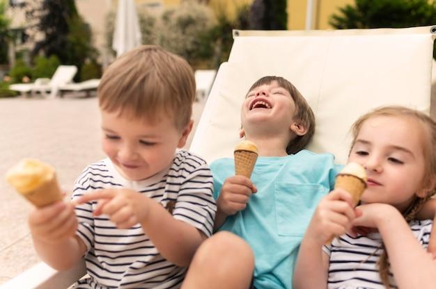 Childrens eating ice cream