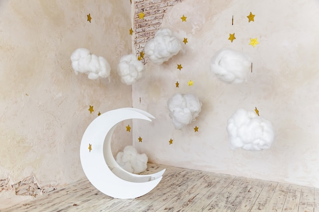 Childrens location for a photo shoot moon with stars and clouds dreamy decor
