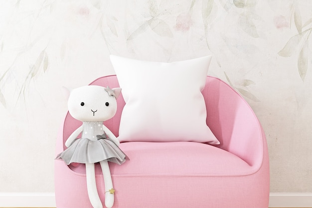 Childrens mockup of a white pillow on a pink armchair