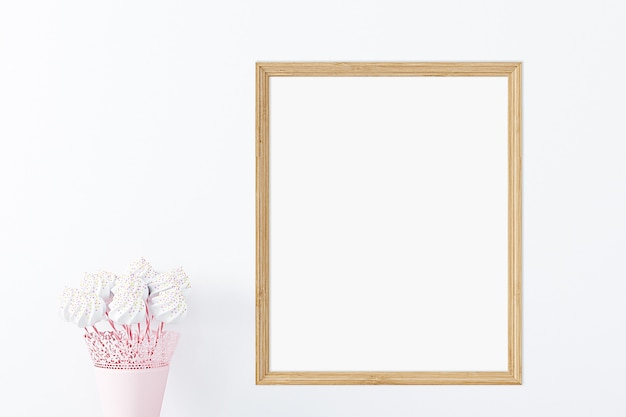 Childrens mockup of a wooden frame with sweets
