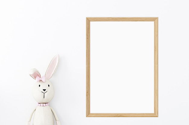 Childrens mockup of a wooden frame with a teddy bear