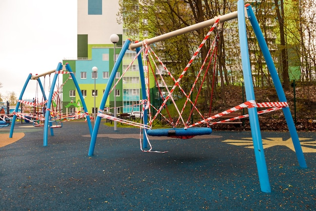 Childrens playground is closed due to pandemic, epidemic