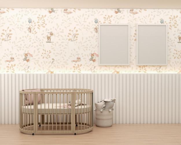 Детская комната с обоями, глухими рамами, белая панель, детская кровать, корзина, подушка, и деревянный пол