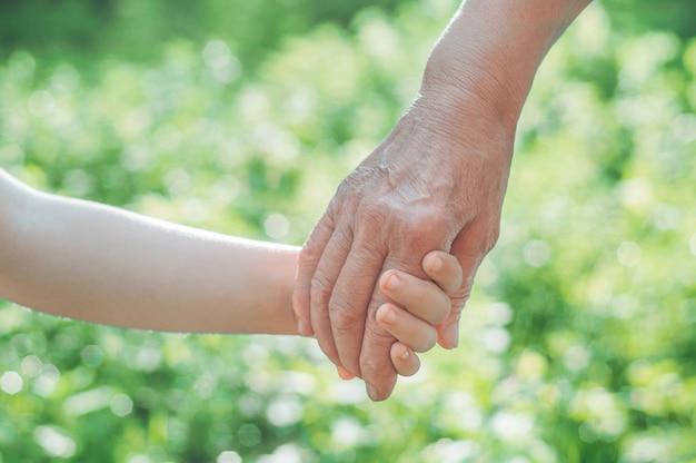 子供の手と古い手の祖母