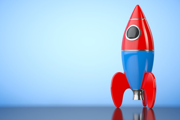 Childs toy rocket on a blue background. 3d rendering