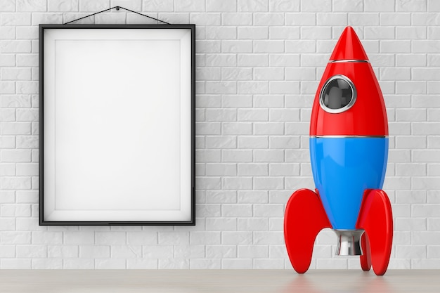 Childs toy rocket in front of brick wall with blank frame extreme closeup. 3d rendering