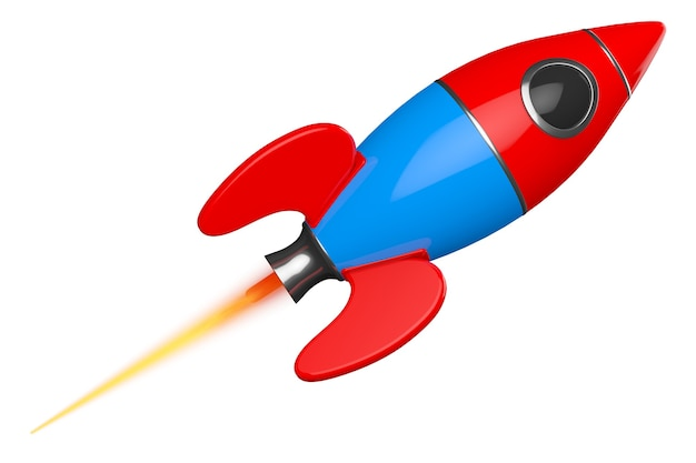 Childs toy rocket on a white background. 3d rendering