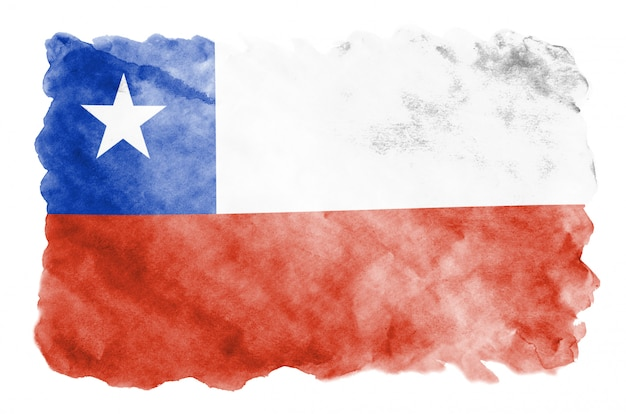 Chile flag is depicted in liquid watercolor style isolated on white