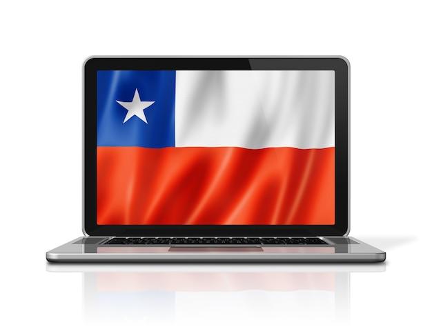 白で隔離のノートパソコンの画面上のチリの旗。 3dイラストのレンダリング。