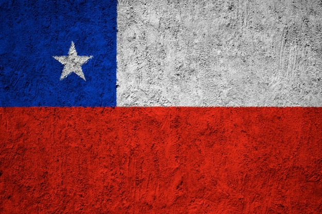 Chile flag painted on grunge wall