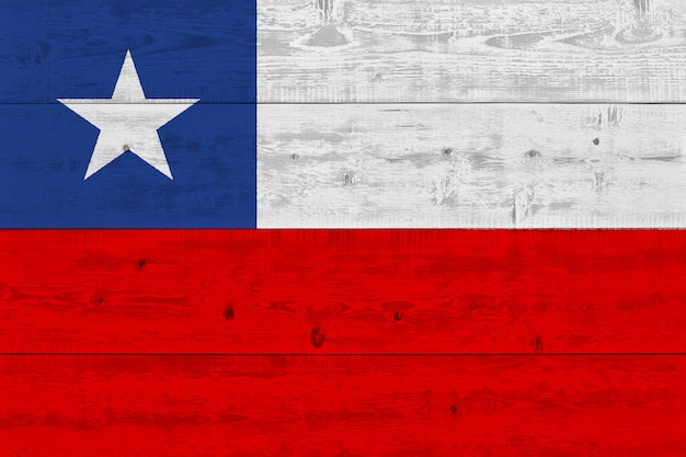 Chile flag painted on old wood plank