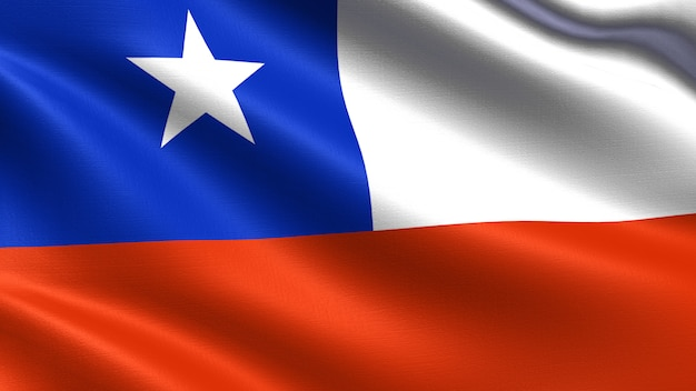 Chile flag, with waving fabric texture