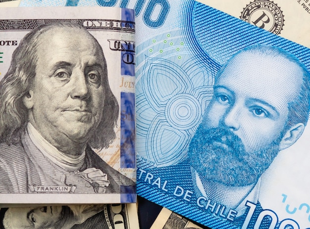Chile money and united states dollar in photography for foreign exchange market concept