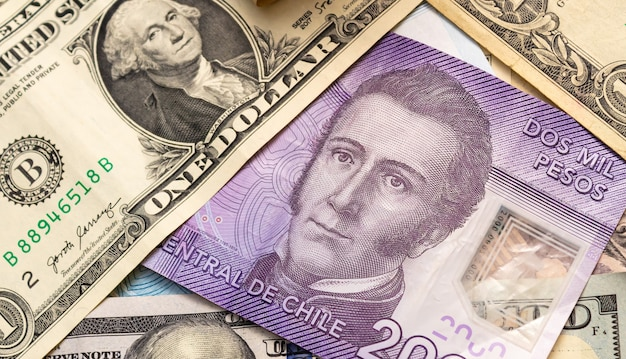 Chile money and united states dollar in photography for foreign exchange market concept Premium Photo