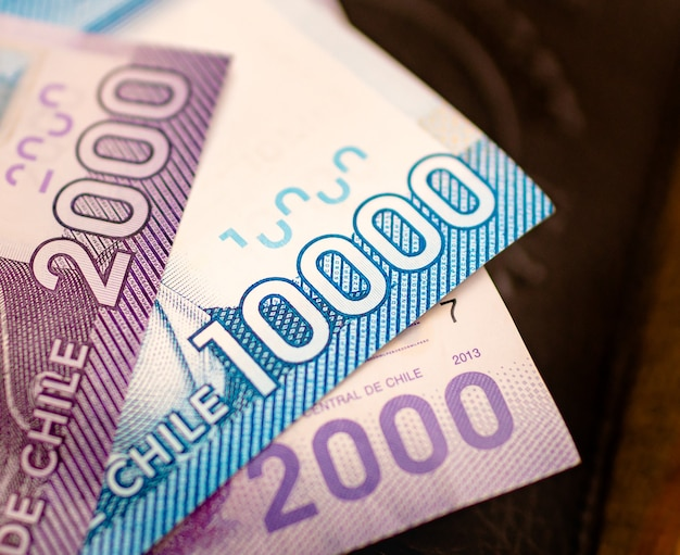Chilean peso banknotes which is the money of chile in photography close up