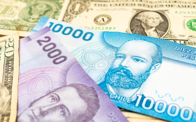 Chilean peso bills with us dollar in photo representing exchange rate