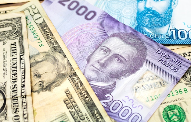 Chilean peso with us dollar for foreign exchange concept and the chilean economy