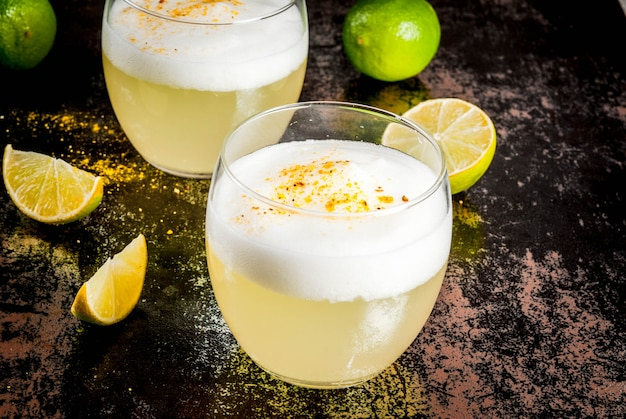 Chilean traditional liqueur pisco sour