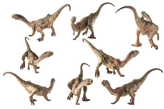 白い背景の上のチレサウルス恐竜。