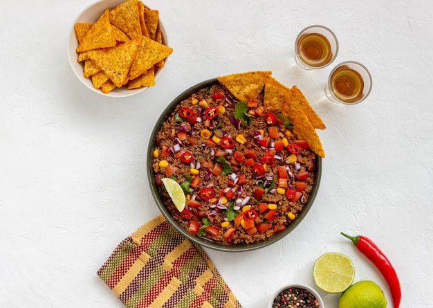 Chili con carne with nachos chips. mexican food. national cuisine.